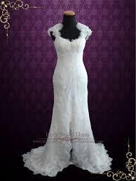 elegant keyhole back french lace wedding dress with silk lining