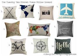 theme pillows whimsy girl the tuesday ten travel themed pillow covers