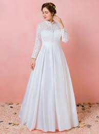wedding dresses high plus size sleeve lace satin high neck wedding dress