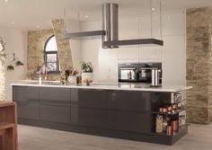 gloss flint grey integrated handle kitchen range kitchen