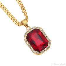 red gem necklace images Wholesale men hip hop stainless steel red gem pendant necklace 22k jpg