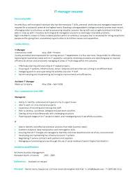 sample resume for it manager it manager resume example sample