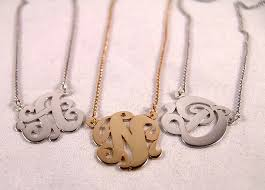 script monogram necklace single initial script monogram necklace soter monogram