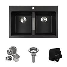 Granite Composite Kitchen Sinks by Kraus Kgd 433b 33 1 2 Inch Dual Mount 50 50 Double Bowl Black Onyx