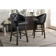 Nail Bar Table And Chairs Baxton Studio Avril Modern And Contemporary Black Faux Leather