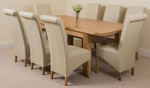 Dining Room Furniture Seattle Seattle Oak 150cm Extending Dining Room Table U0026 8 Brown Leather