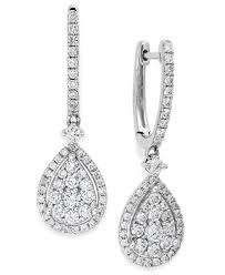 diamond teardrop earrings diamond cluster teardrop earrings in 14k white gold 1 ct t w