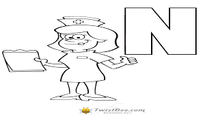 nurse coloring page with letter n worksheets twistbee