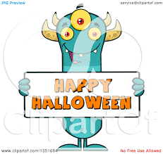 clipart of a turquoise three eyed horned monster holding a happy