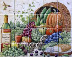 fruit and vegetable basket garden harvest baskets fruit vegetable tile murals glass by