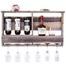 amazon com floating wine shelf and glass rack set wall mounted