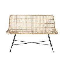 canape en rotin bloomingville rattan sofa bench living and co