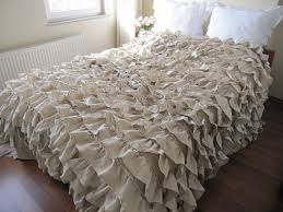 Duvet Vs Coverlet Beige Ruffle Bedding Oatmeal Beige Waterfall Ruffled Bedding