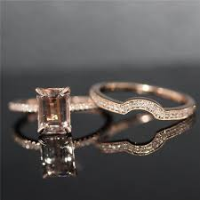 Rose Gold Wedding Ring Sets by Two Rings Set 6x8mm Emerald Cut Morganite H Si Diamond Claw Prongs