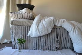 stonewashed linen bed skirt vintage black ticking