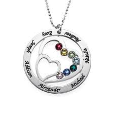 birthstones necklace for family heart necklace in sterling silver with swarovski birthstones