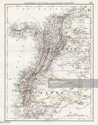 Galapagos Map Colombia Ecuador Galapagos Map 1897 Stock Illustration Getty Images