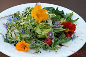 Salad With Edible Flowers - category garden to table eating at home with rebecka
