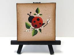 ladybug mini canvas on easel handpainted home decor shelf