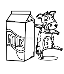 milk with a cow coloring page stock illustration image 87361861
