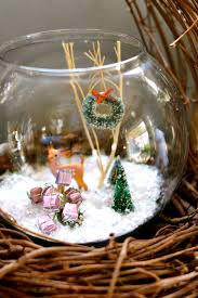 Fish Bowl Decorations Deeds U0026 Petunia Snowy Winter Terrarium