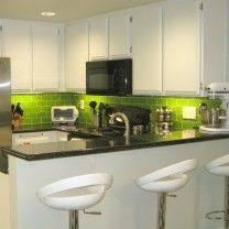 Coolest Lime Green Glass Tile Backsplash Small Kitchen Ideas - Green glass backsplash tile