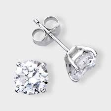 earring stud 1 ct cz 14k white gold earring studs