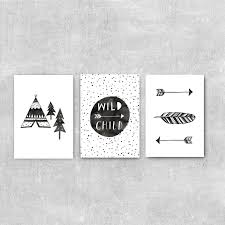 Kids Room Prints by Wild Child Nursery Art Set Of Three Prints Boho Kids Room Modern