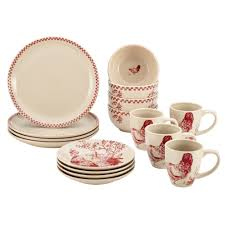 bonjour dinnerware chanticleer country 16 piece stoneware