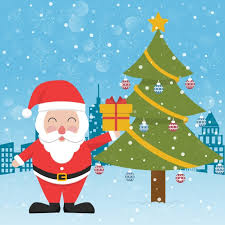 santa claus next to a christmas tree vector free download