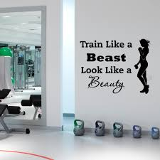 compare prices on sports wall mural online shopping buy low price sports wall decal quotes train like a beast look like a beauty vinyl stickers gym fitness