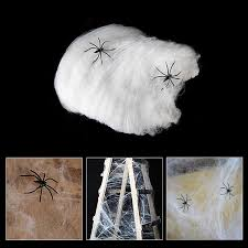 Spider Web Halloween Decoration 2 Packs Stretchable Spider Web With 2 Spiders For Halloween