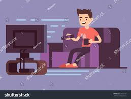 man watching tv drinking coffee on stock vector 613977197