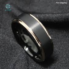 free wedding band tungsten carbide ring gold black brushed men s wedding band