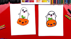 how to draw cartoon pumpkin and ghost art for kids hub
