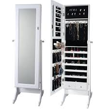 Large White Jewelry Armoire Standing Mirror Jewelry Armoire With Lock Cheval Mirror Jewelry