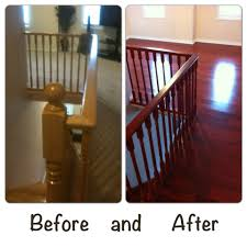 re staining a wood staircase and installing hardwood floors in