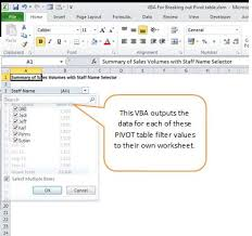 vba for splitting an excel pivot table into multiple reports