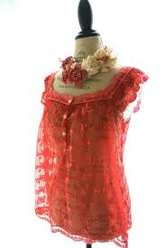 romantic lace shirt shabby strawberry red womens clothing