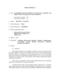 conceptual framework sample thesis final thesis cbet politics government leadership effectiveness of barangay captains its implication to barangay development