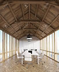 bureau de studio grenier intérieur de bureau en bois de studio de design avec des