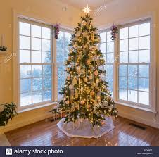 tree in modern home with snow falling outside the