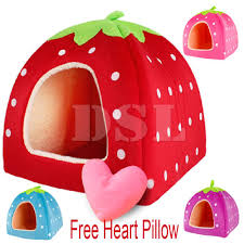 Igloo Dog House Parts Soft Strawberry Pet Igloo Dog Cat Bed House Kennel Doggy Fashion