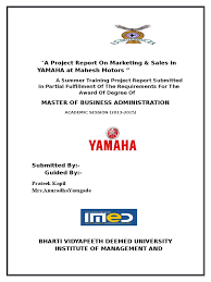 a project report on marketing yamaha prateek kapil docshare tips