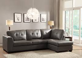 Modern Tufted Leather Sofa by Homelegance Springer Sectional Sofa Grey Bonded Leather Match