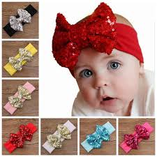christmas hair accessories baby big sequins bow headbands for kids christmas hair bows