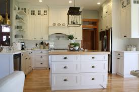 White Glass Backsplash by Stylish Modern Farmhouse Kitchen Wooden Countertop Kitchen Island