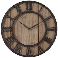 Small Decorative Wall Clocks Amazon Com Uttermost 06344 Powell Wooden Wall Clock Home U0026 Kitchen