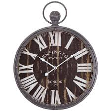 Home Decor Wall Clock Yosemite Home Decor 18 In Pendant Iron Wall Clock And Mdf Back