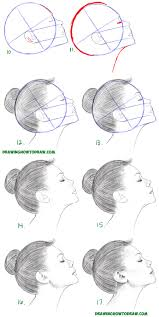 how to draw a face from the side profile view female